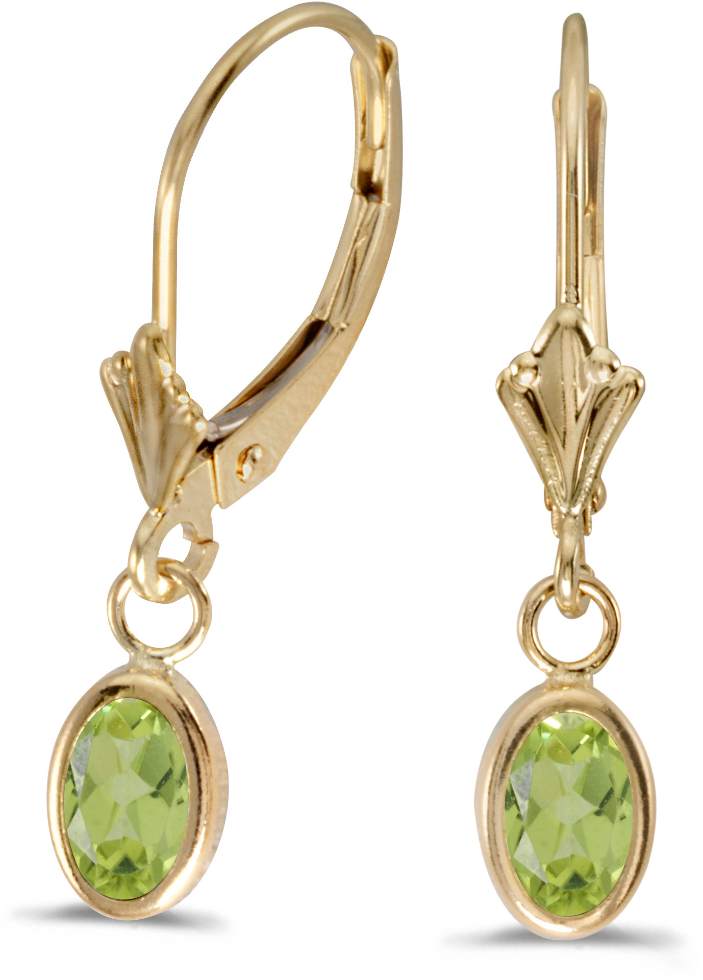 14k Yellow Gold Oval Peridot Bezel Lever-back Earrings (CM-E5009X-08)