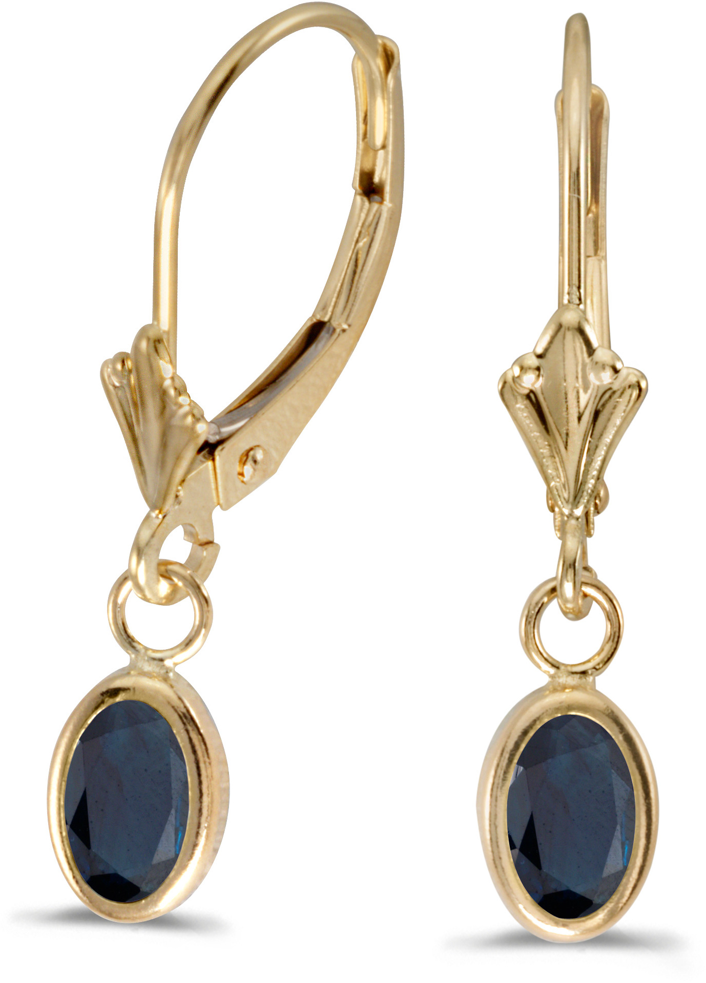 14k Yellow Gold Oval Sapphire Bezel Lever-back Earrings (CM-E5009X-09)