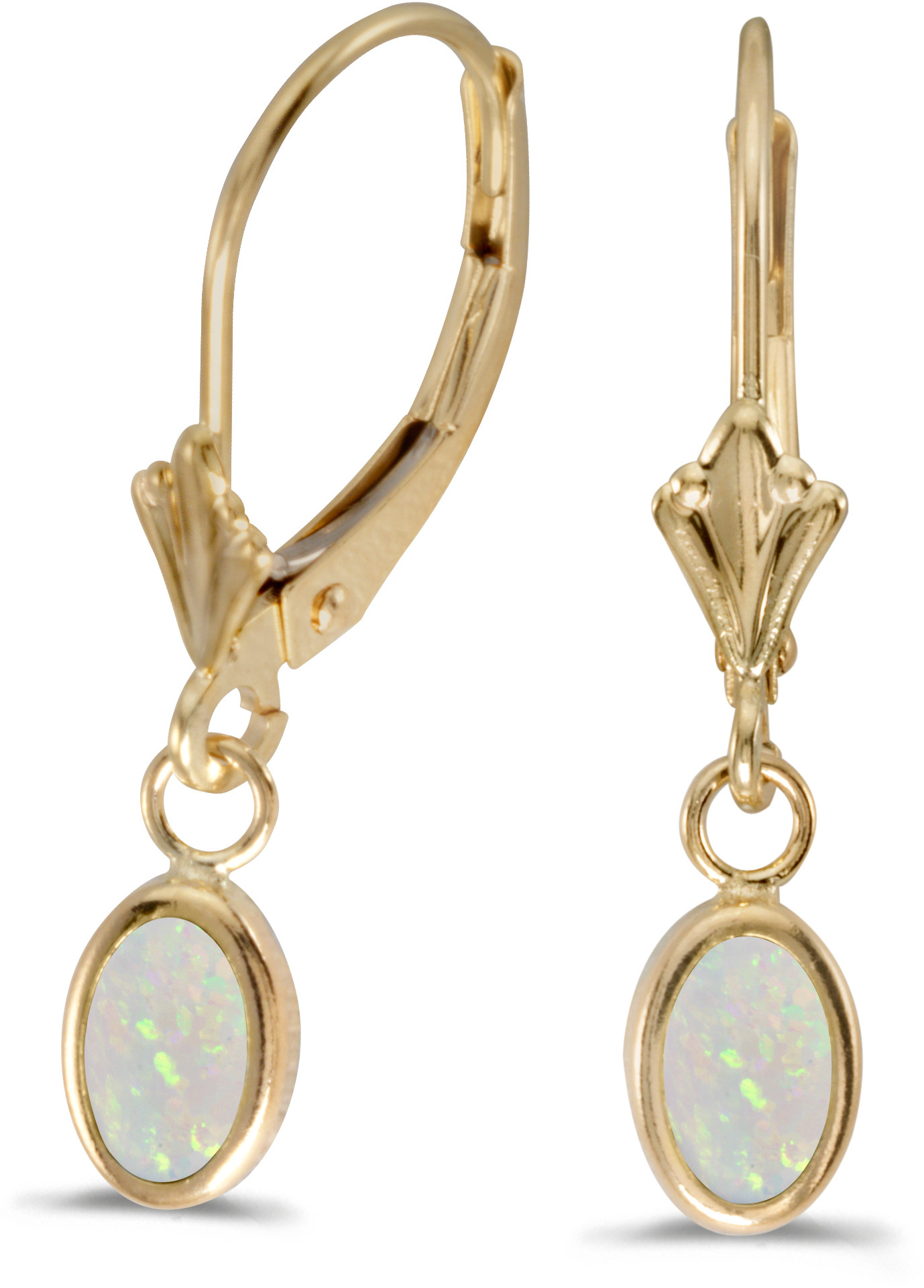 14k Yellow Gold Oval Opal Bezel Lever-back Earrings (CM-E5009X-10)