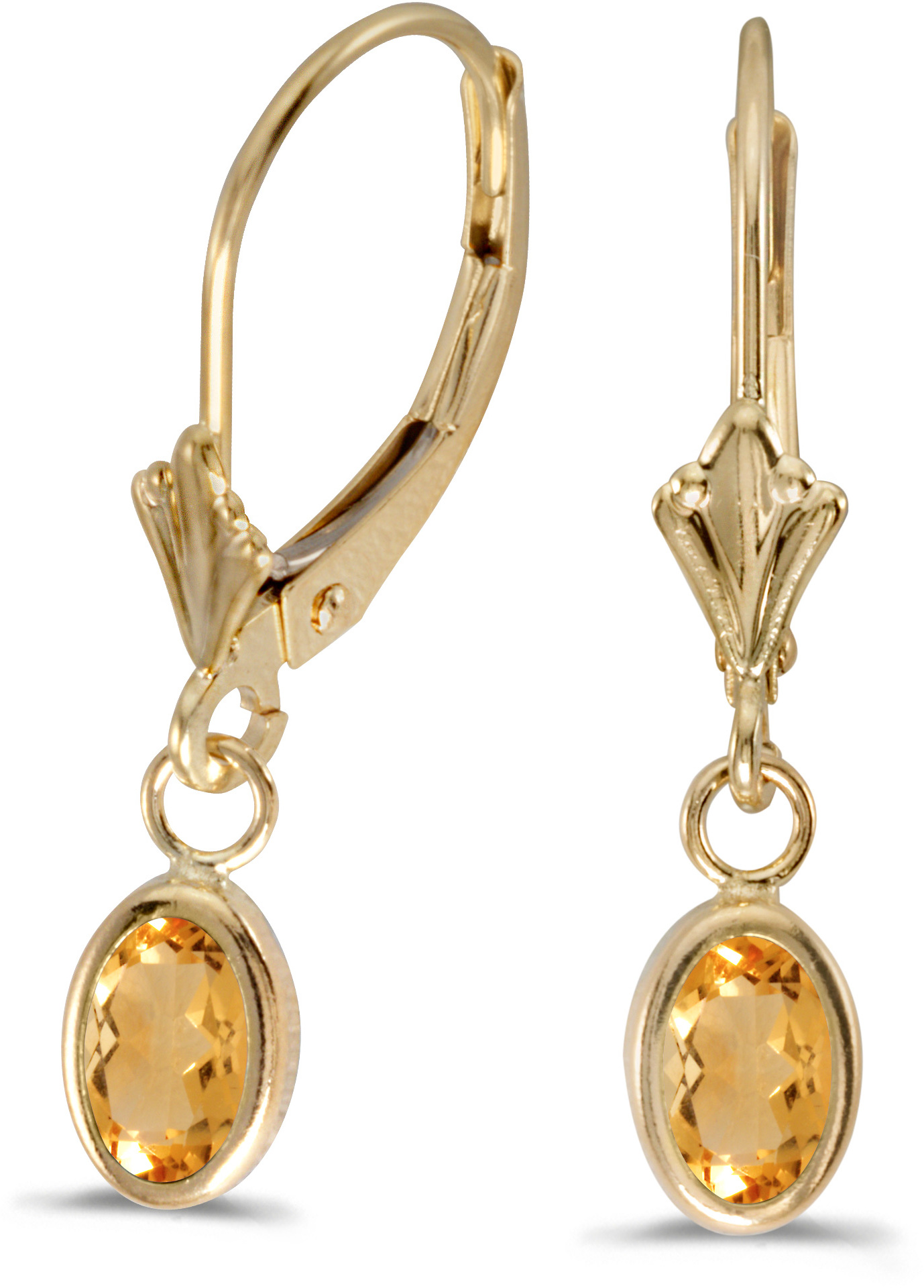 14k Yellow Gold Oval Citrine Bezel Lever-back Earrings (CM-E5009X-11)