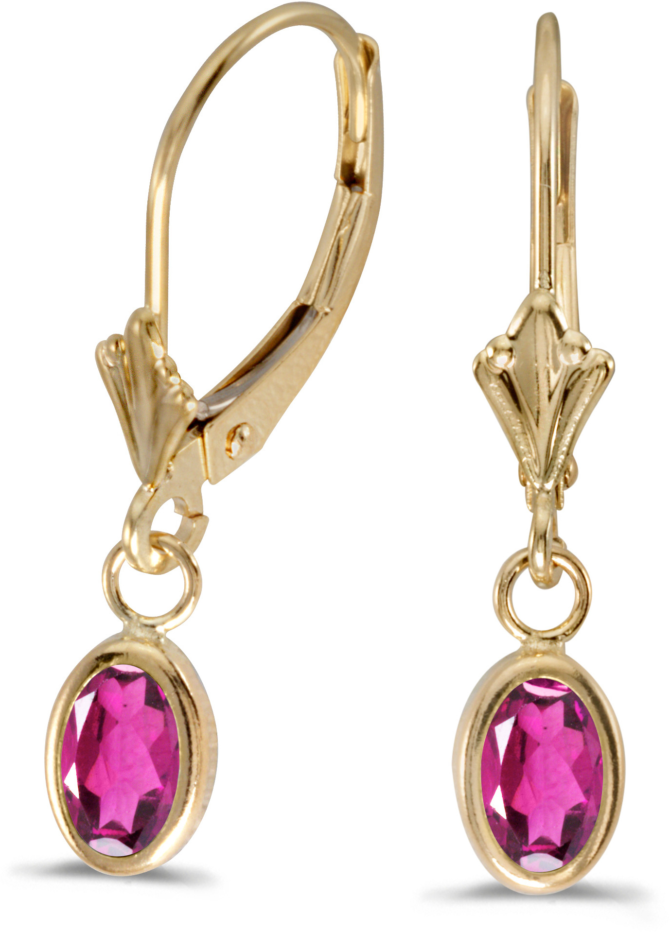 14k Yellow Gold Oval Pink Topaz Bezel Lever-back Earrings (CM-E5009X-PT)