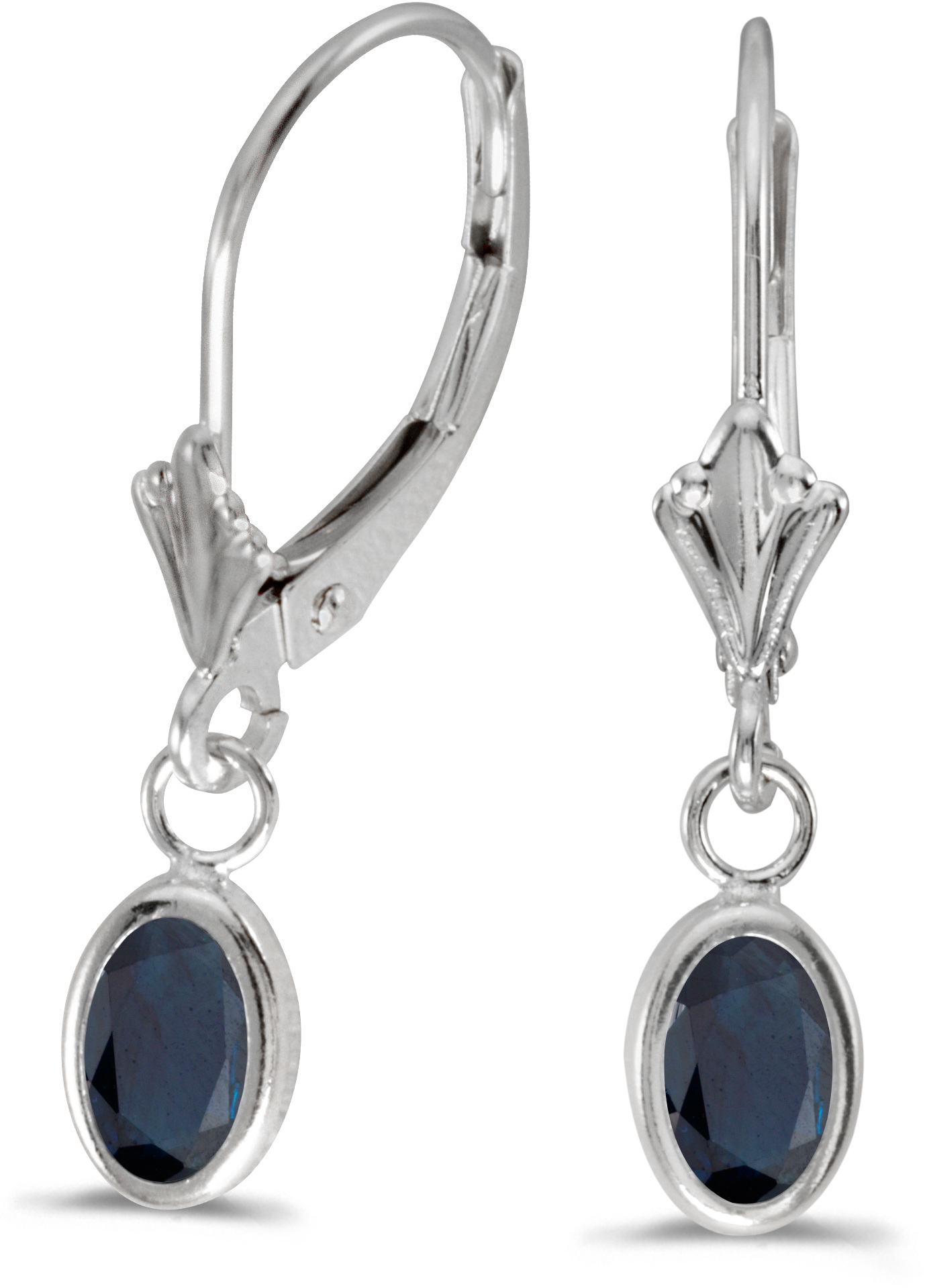 14k White Gold Oval Sapphire Bezel Lever-back Earrings