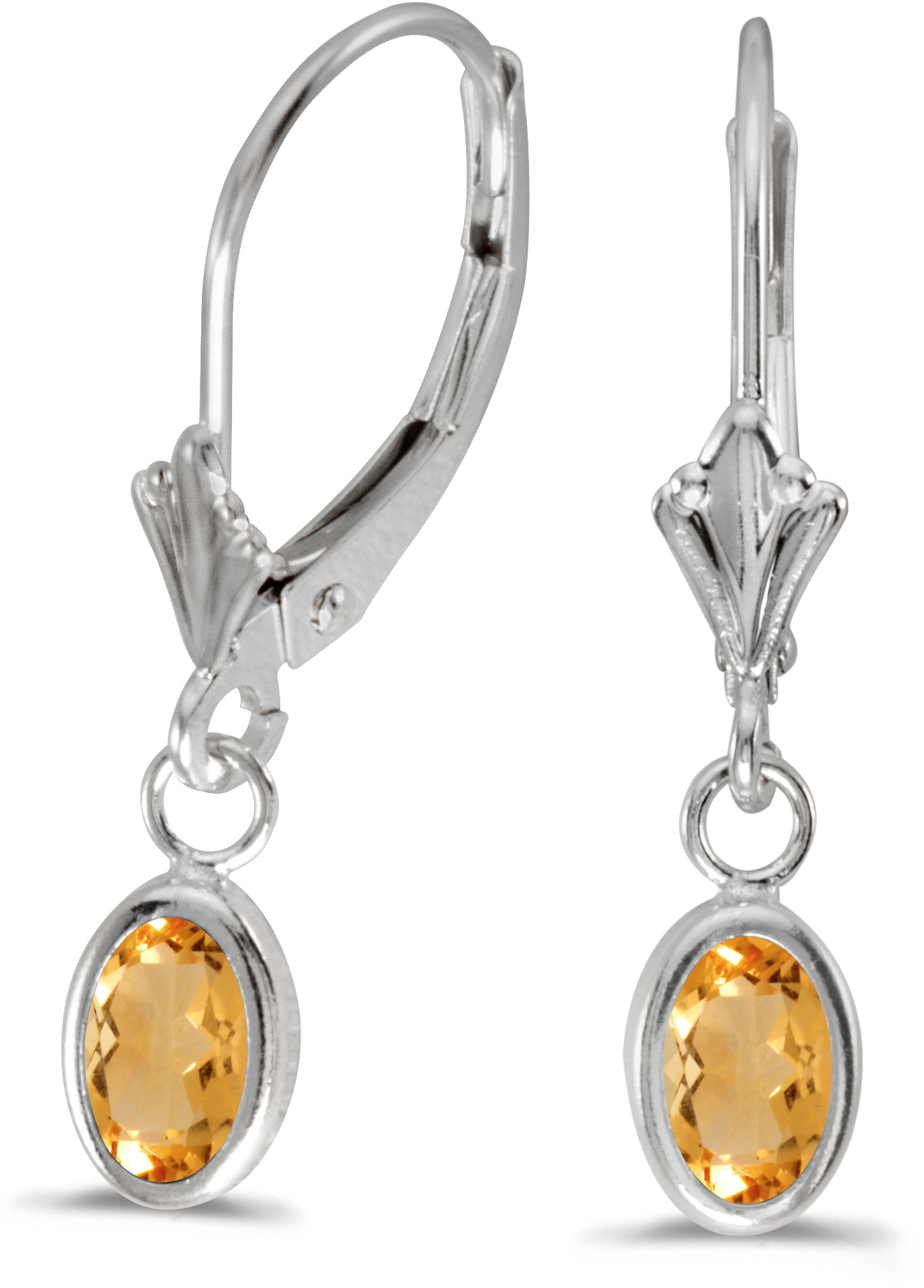 14k White Gold Oval Citrine Bezel Lever-back Earrings
