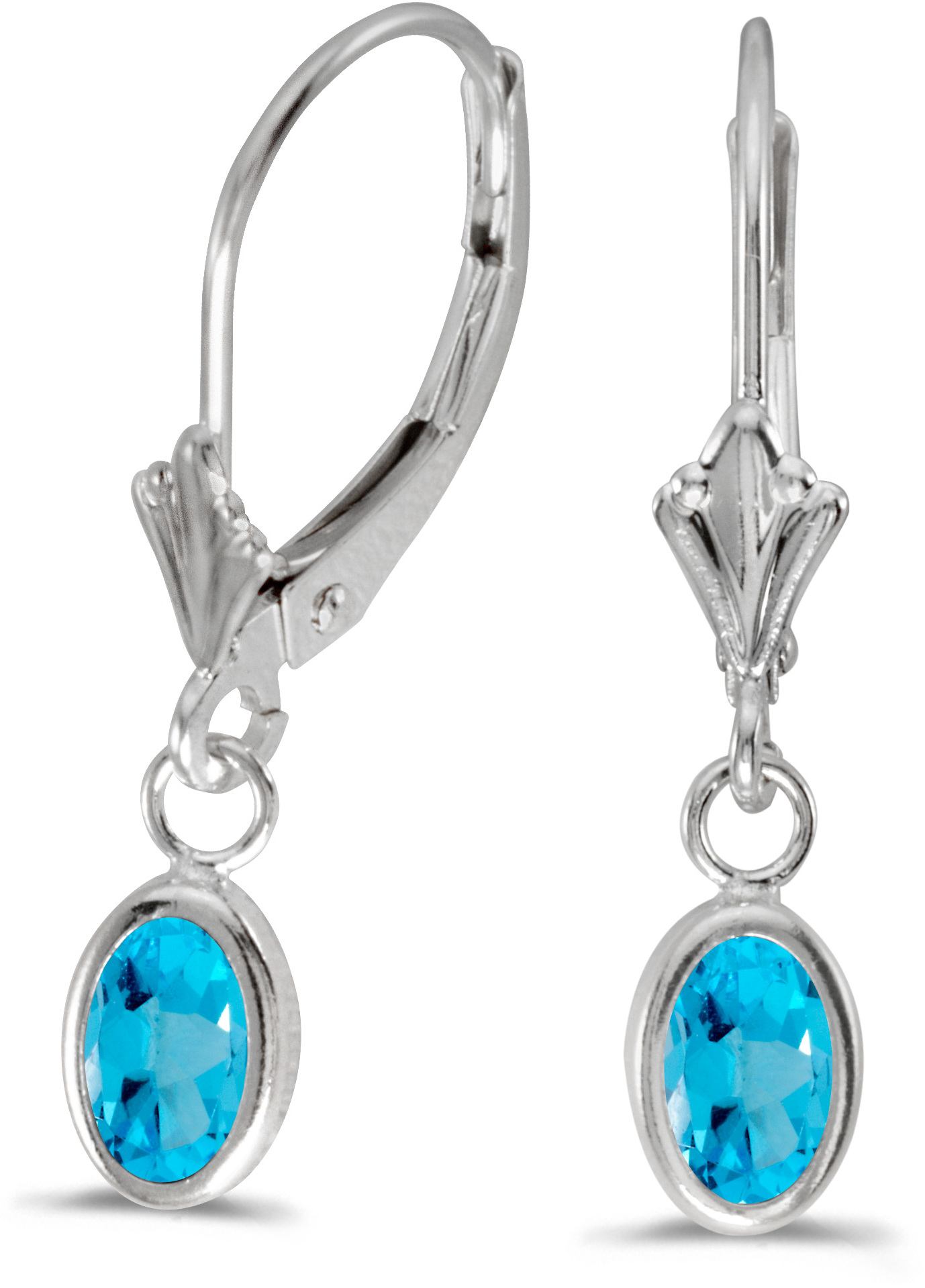 14k White Gold Oval Blue Topaz Bezel Lever-back Earrings