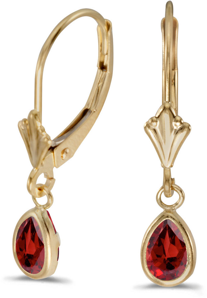 14k Yellow Gold Pear Garnet Bezel Lever-back Earrings