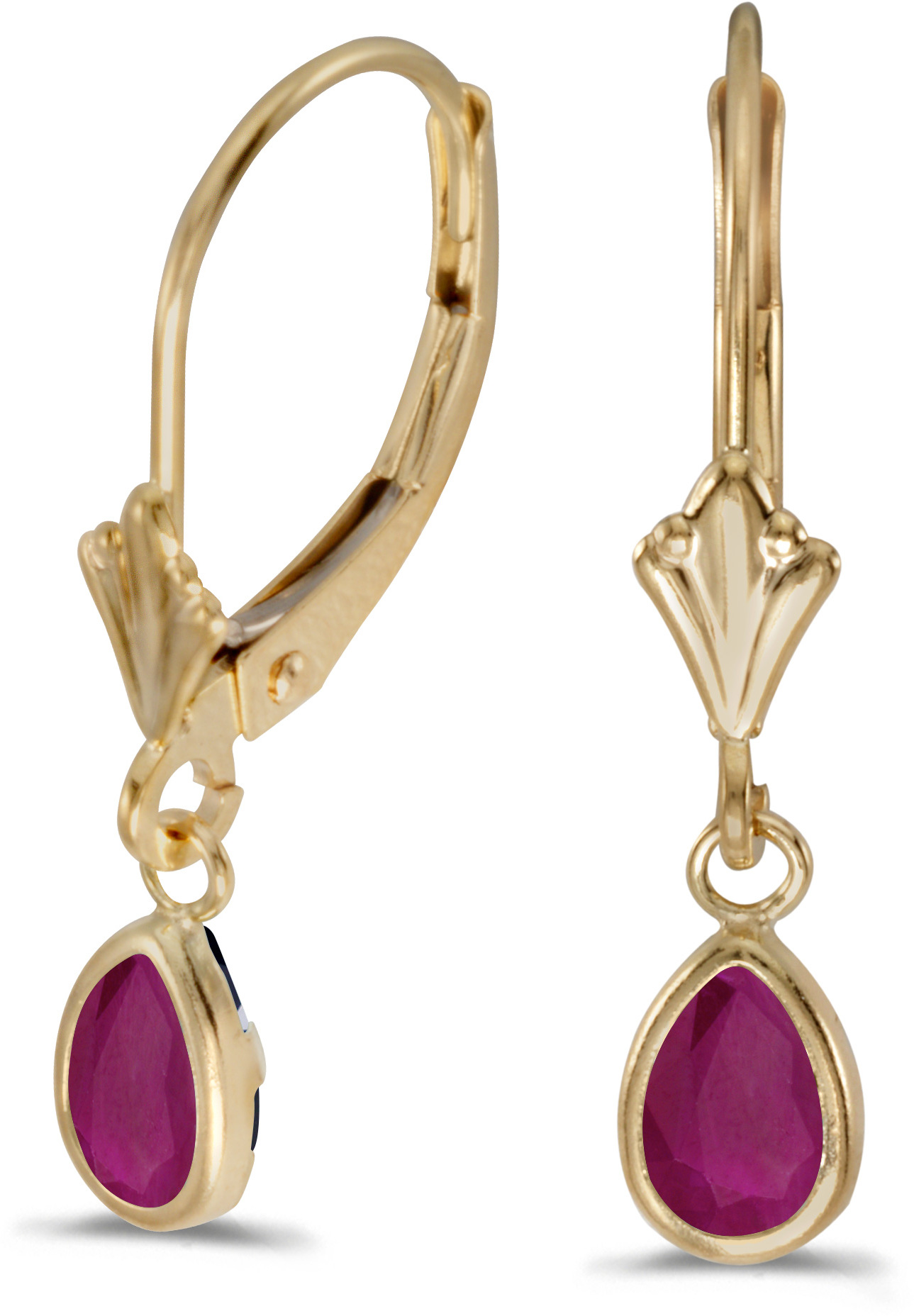 14k Yellow Gold Pear Ruby Bezel Lever-back Earrings