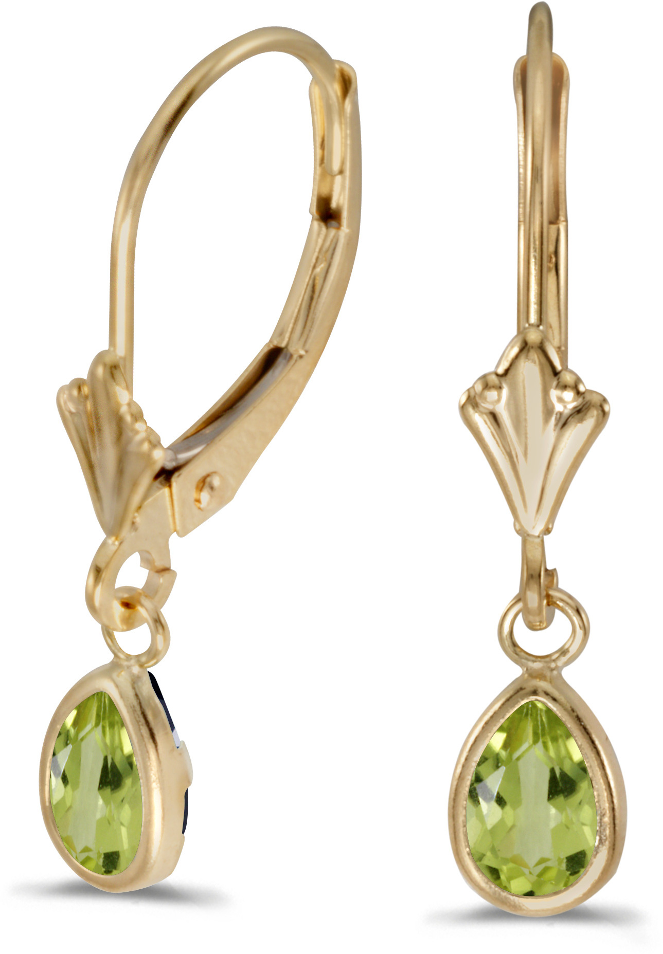 14k Yellow Gold Pear Peridot Bezel Lever-back Earrings