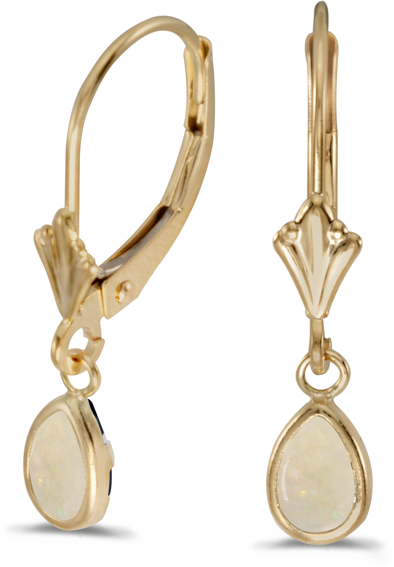 14k Yellow Gold Pear Opal Bezel Lever-back Earrings