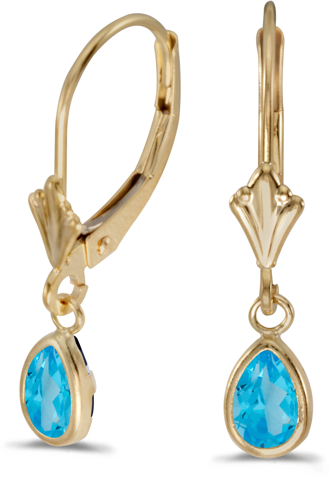14k Yellow Gold Pear Blue Topaz Bezel Lever-back Earrings