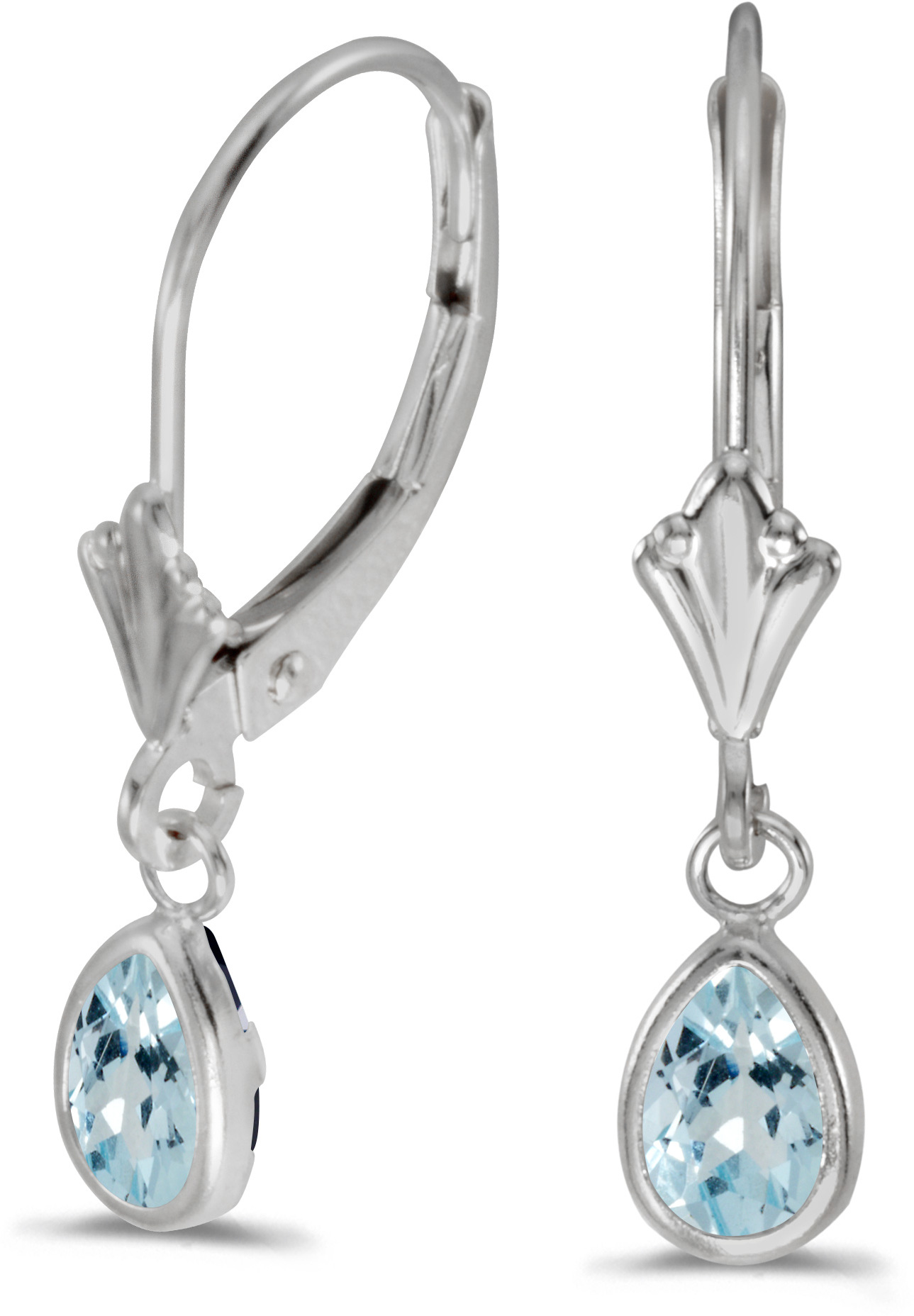 14k White Gold Pear Aquamarine Bezel Lever-back Earrings