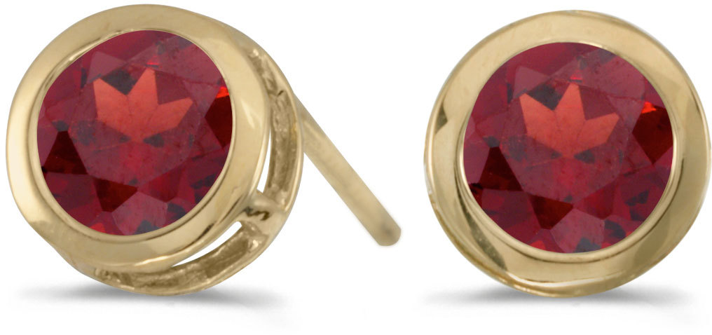 14k Yellow Gold Round Garnet Bezel Stud Earrings (CM-E5039X-01)