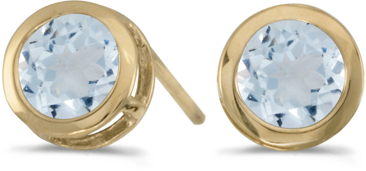 14k Yellow Gold Round Aquamarine Bezel Stud Earrings (CM-E5039X-03)