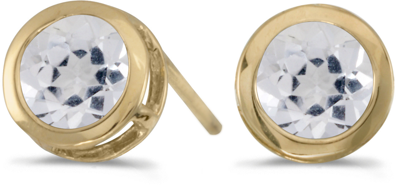 14k Yellow Gold Round White Topaz Bezel Stud Earrings (CM-E5039X-04)