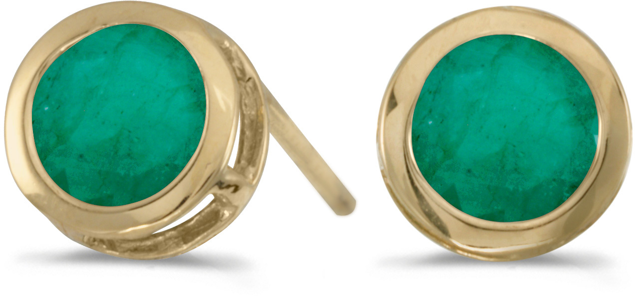 14k Yellow Gold Round Emerald Bezel Stud Earrings (CM-E5039X-05)