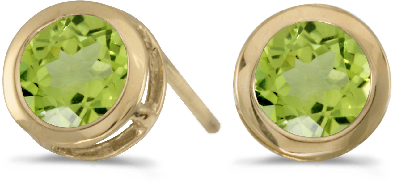 14k Yellow Gold Round Peridot Bezel Stud Earrings (CM-E5039X-08)