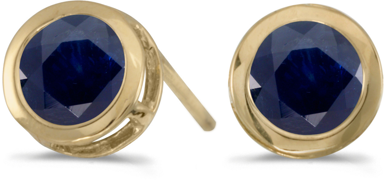 14k Yellow Gold Round Sapphire Bezel Stud Earrings (CM-E5039X-09)