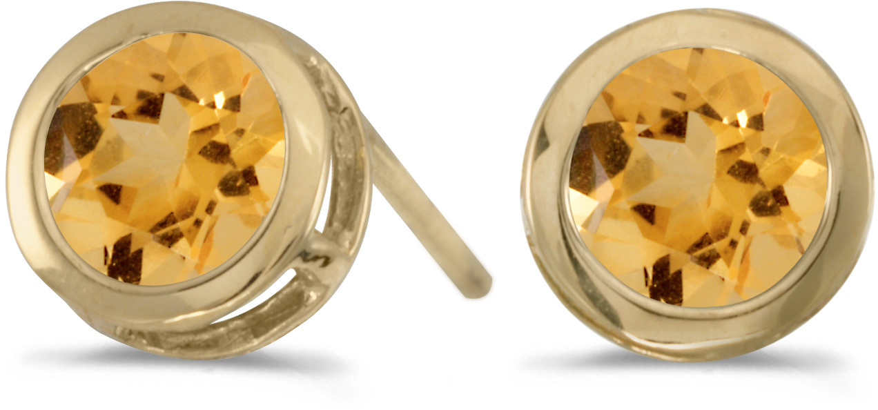 14k Yellow Gold Round Citrine Bezel Stud Earrings (CM-E5039X-11)
