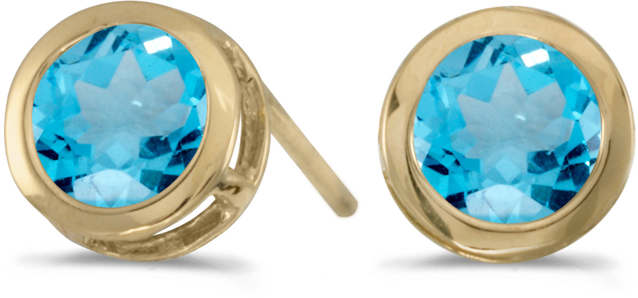 14k Yellow Gold Round Blue Topaz Bezel Stud Earrings (CM-E5039X-12)
