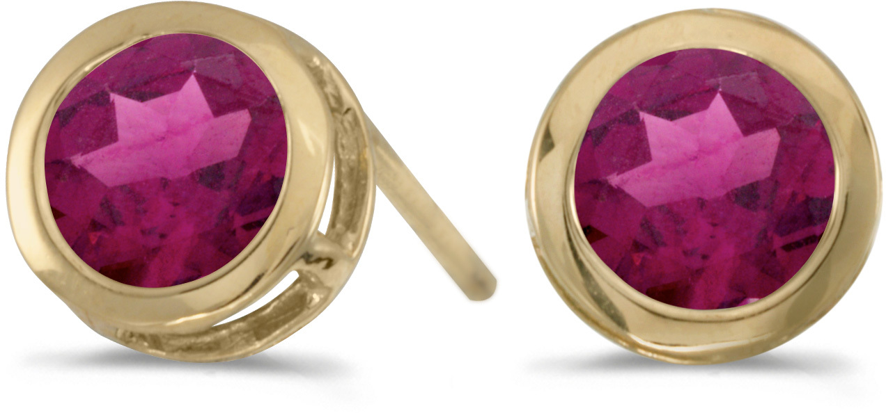 14k Yellow Gold Round Rhodolite Garnet Bezel Stud Earrings (CM-E5039X-RG)
