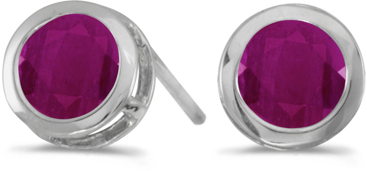 14k White Gold Round Ruby Bezel Stud Earrings