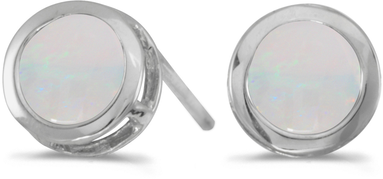 14k White Gold Round Opal Bezel Stud Earrings