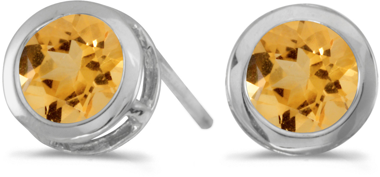 14k White Gold Round Citrine Bezel Stud Earrings