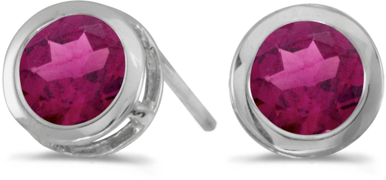 14k White Gold Round Rhodolite Garnet Bezel Stud Earrings