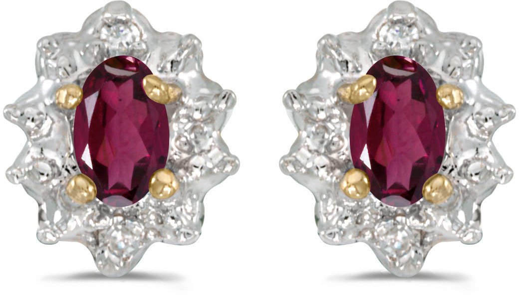 10k Yellow Gold Oval Rhodolite Garnet And Diamond Earrings