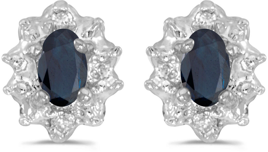10k White Gold Oval Sapphire And Diamond Earrings