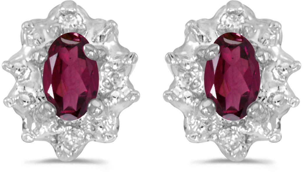 10k White Gold Oval Rhodolite Garnet And Diamond Earrings