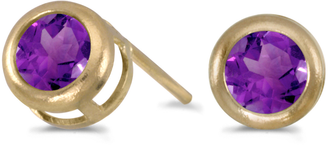 14k Yellow Gold Round Amethyst Bezel Stud Earrings