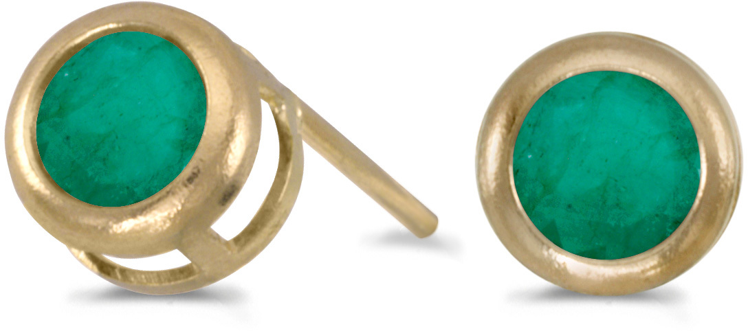 14k Yellow Gold Round Emerald Bezel Stud Earrings
