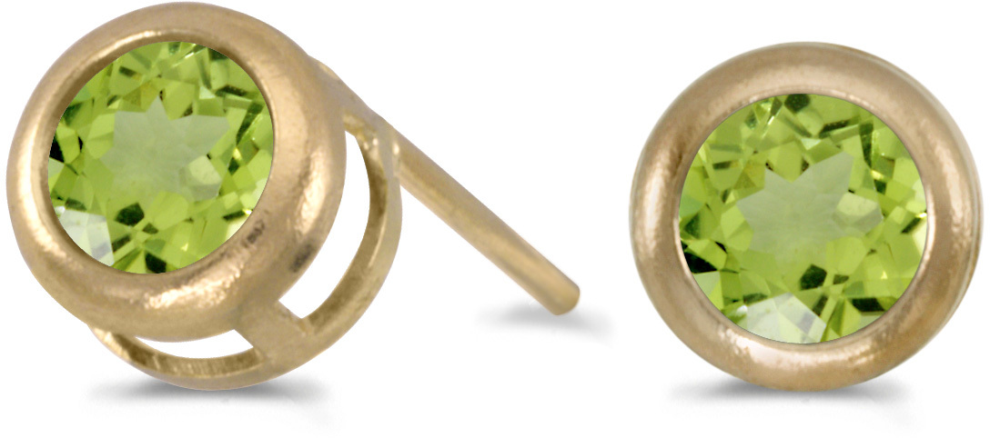 14k Yellow Gold Round Peridot Bezel Stud Earrings