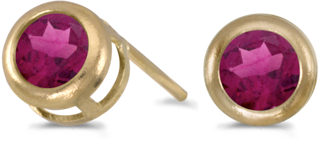 14k Yellow Gold Round Rhodolite Garnet Bezel Stud Earrings