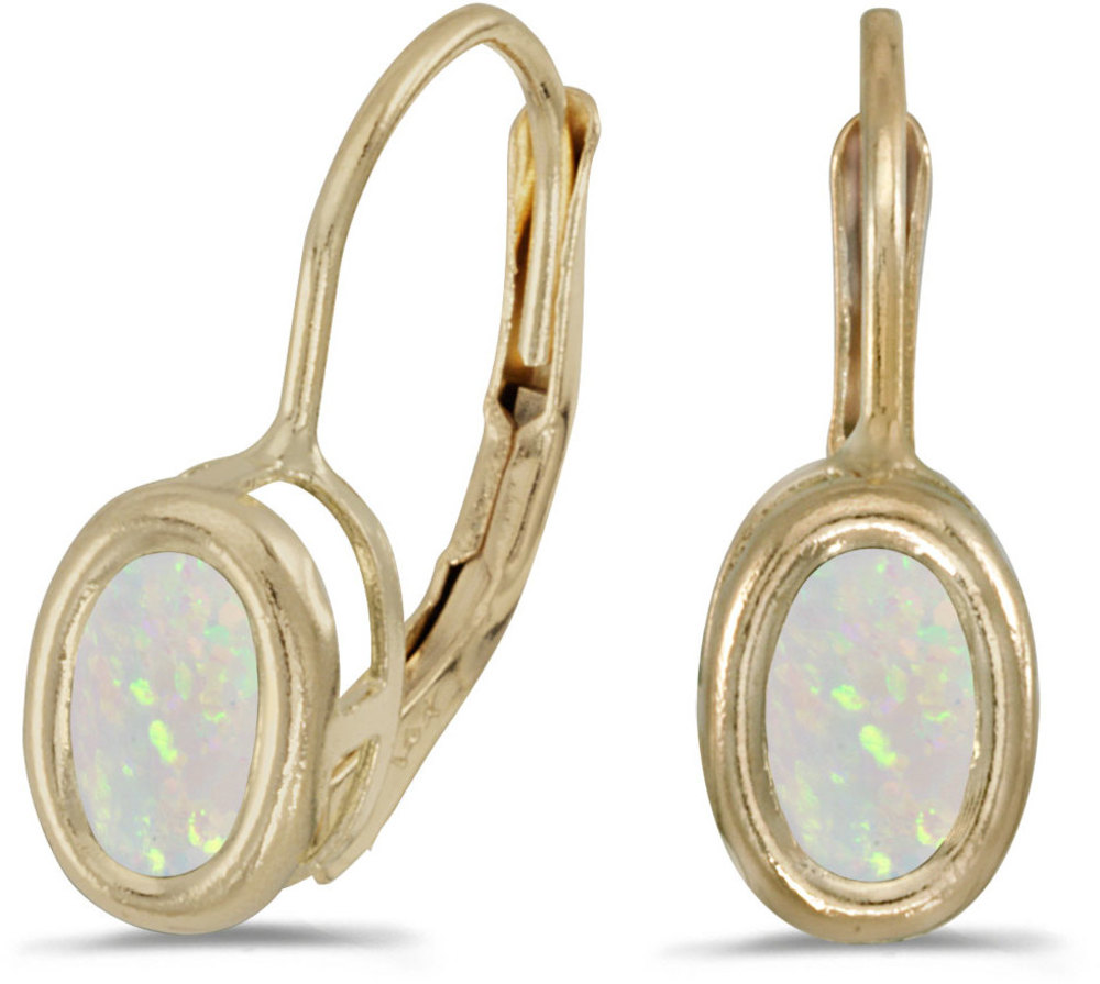 14k Yellow Gold Oval Opal Bezel Lever-back Earrings