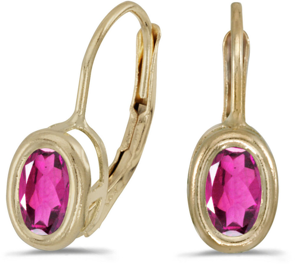 14k Yellow Gold Oval Pink Topaz Bezel Lever-back Earrings