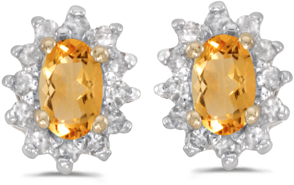 14k Yellow Gold Oval Citrine And Diamond Earrings (CM-E6410X-11)
