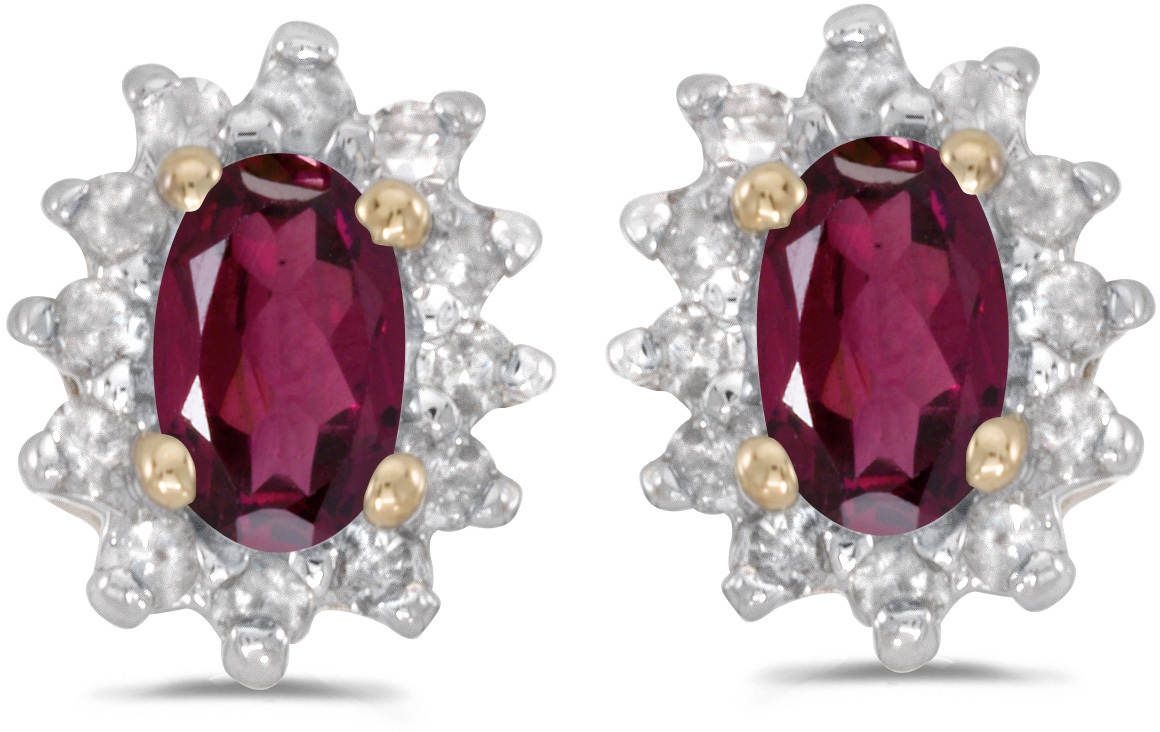 14k Yellow Gold Oval Rhodolite Garnet And Diamond Earrings (CM-E6410X-RG)