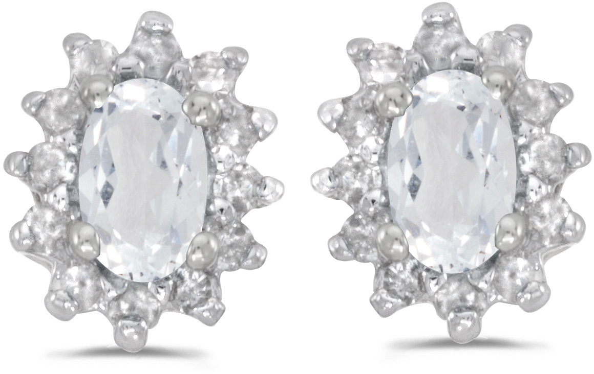 14k White Gold Oval White Topaz And Diamond Earrings (CM-E6410XW-04)