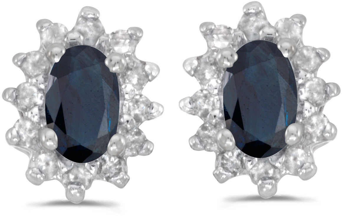 14k White Gold Oval Sapphire And Diamond Earrings (CM-E6410XW-09)