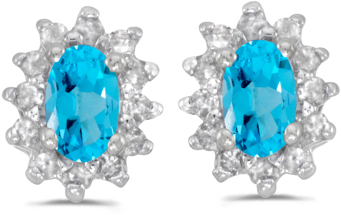 14k White Gold Oval Blue Topaz And Diamond Earrings (CM-E6410XW-12)