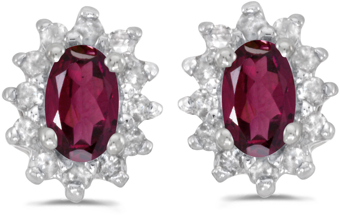14k White Gold Oval Rhodolite Garnet And Diamond Earrings (CM-E6410XW-RG)