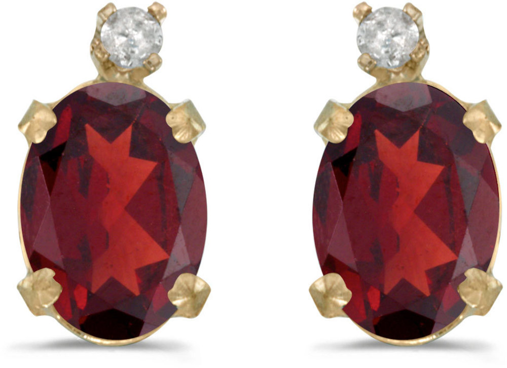 14k Yellow Gold Oval Garnet And Diamond Earrings (CM-E6411X-01)