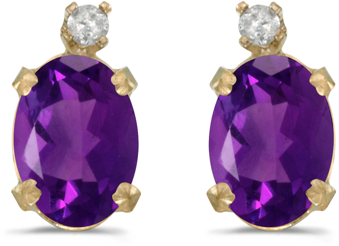 14k Yellow Gold Oval Amethyst And Diamond Earrings (CM-E6411X-02)