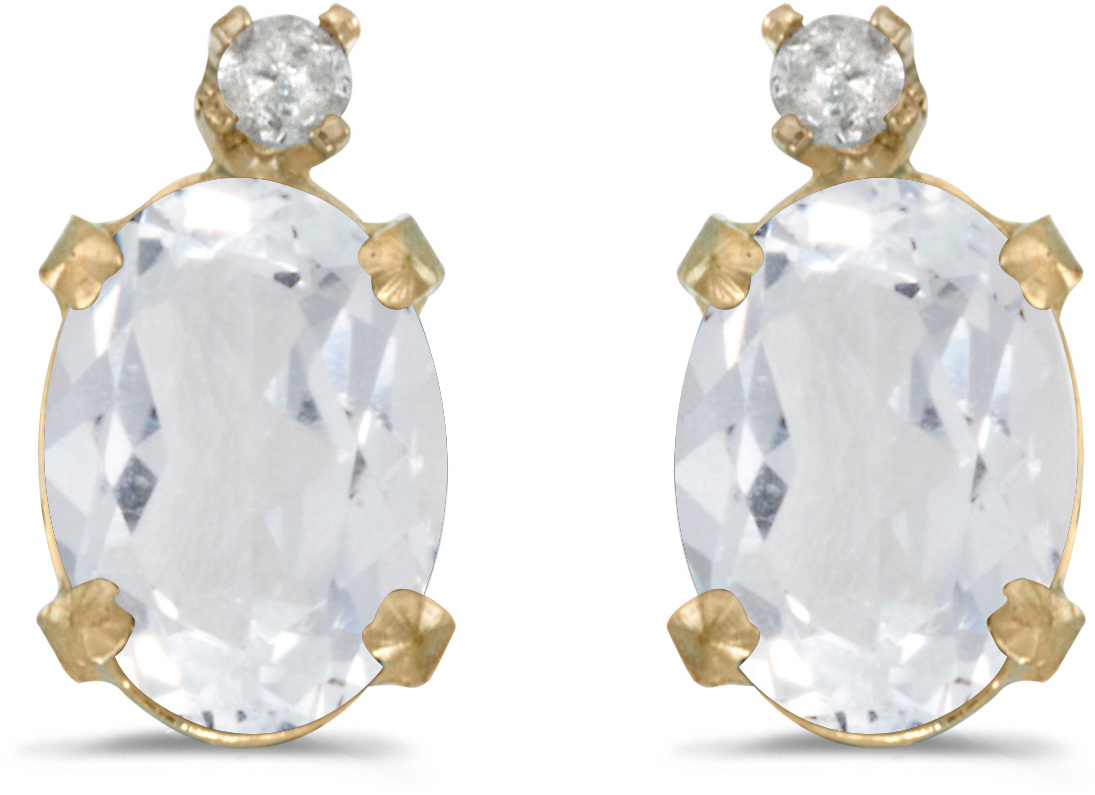 14k Yellow Gold Oval White Topaz And Diamond Earrings (CM-E6411X-04)