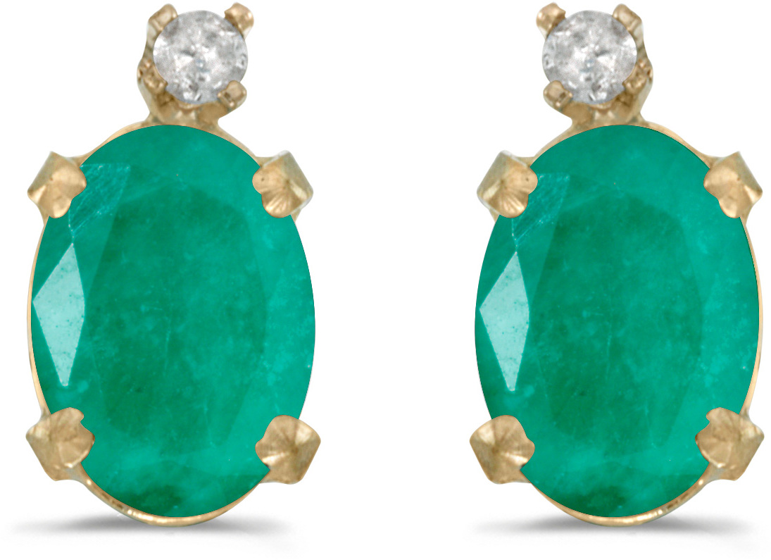 14k Yellow Gold Oval Emerald And Diamond Earrings (CM-E6411X-05)