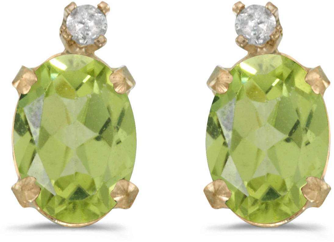 14k Yellow Gold Oval Peridot And Diamond Earrings (CM-E6411X-08)