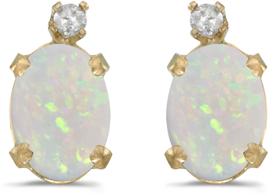 14k Yellow Gold Oval Opal And Diamond Earrings (CM-E6411X-10)