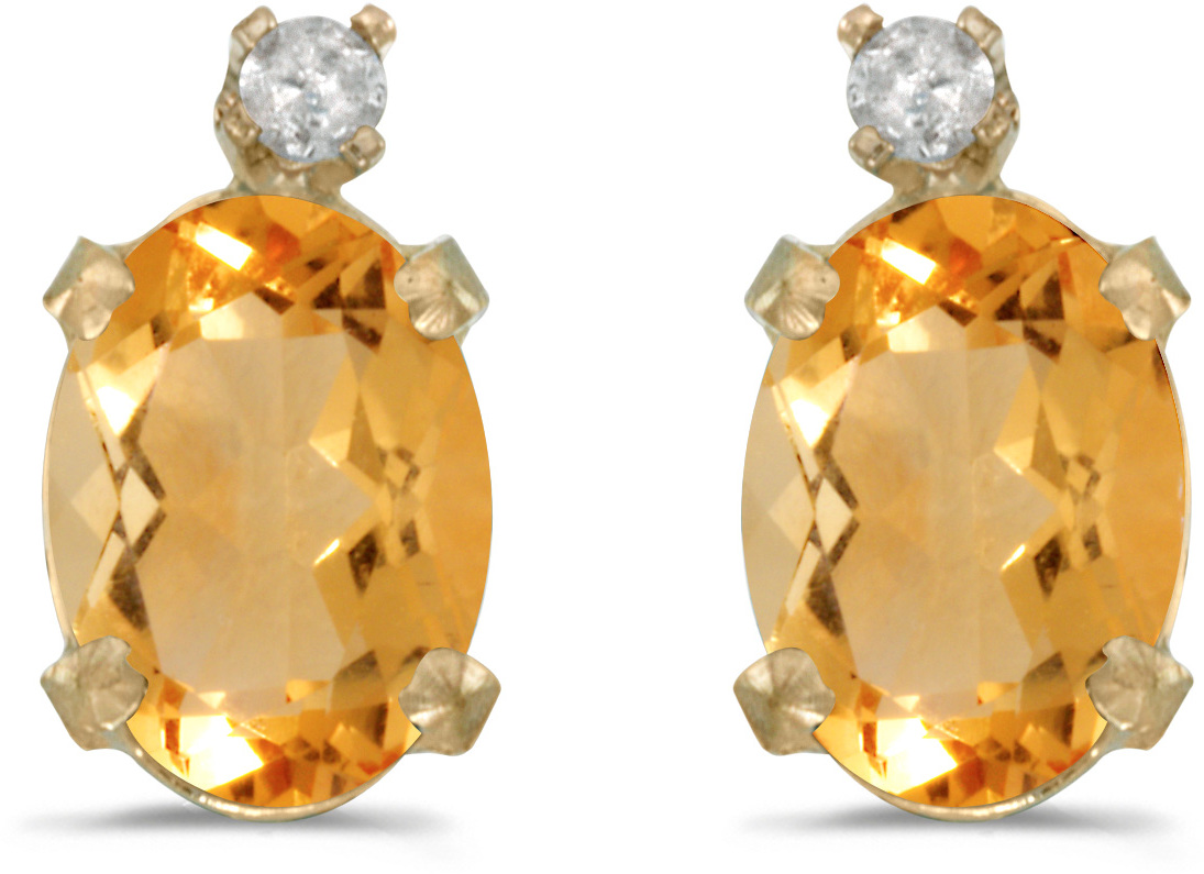 14k Yellow Gold Oval Citrine And Diamond Earrings (CM-E6411X-11)