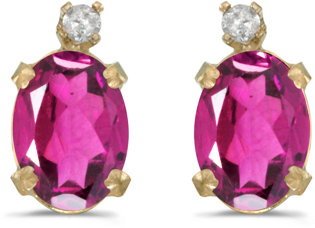 14k Yellow Gold Oval Pink Topaz And Diamond Earrings (CM-E6411X-PT)